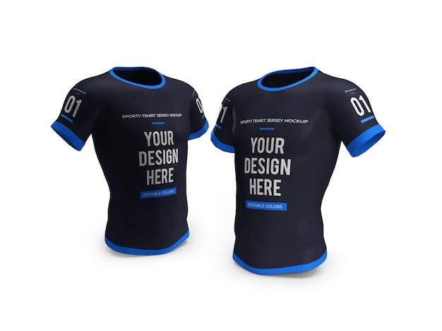 Sportliches t-shirt jersey 3d mockup isoliert Premium PSD