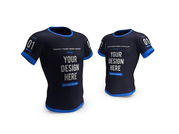 Sportliches t-shirt jersey 3d mockup isoliert