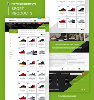 Sporty products e-commerce-website kategorieseite psd-vorlage.