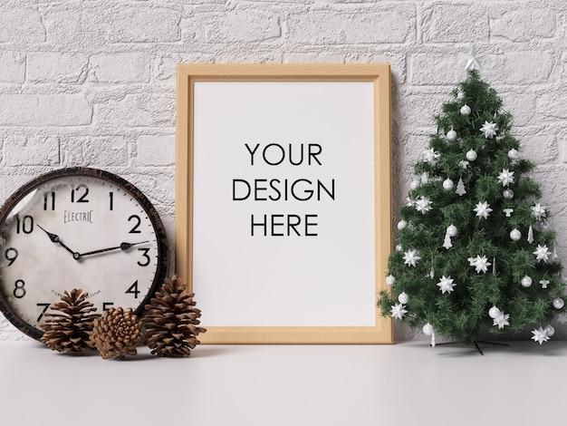 Spott herauf plakat-rahmen-innenraum mit weihnachtsdekoration