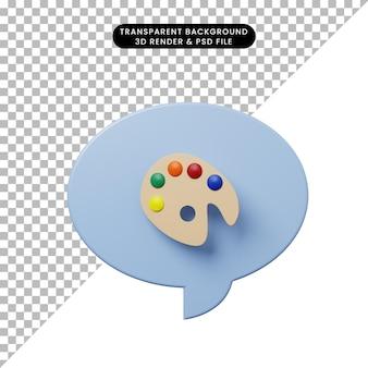 Sprechblase der illustration 3d mit malereipalette