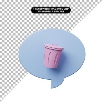 Sprechblase der illustration 3d mit papierkorb