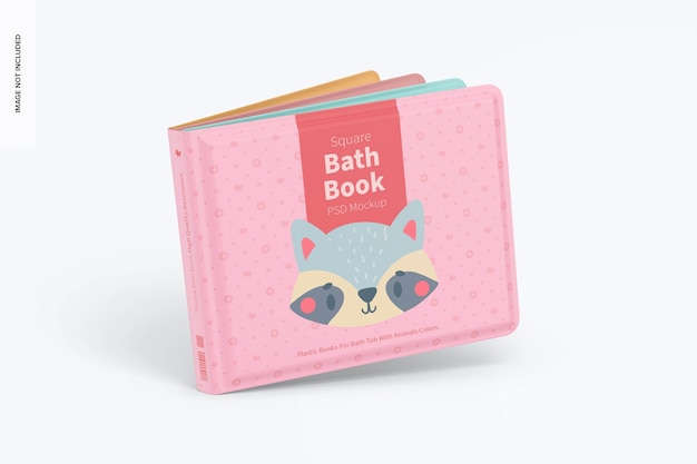 Square bath book mockup