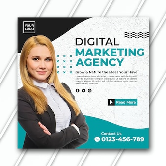 Square marketing agency banner template