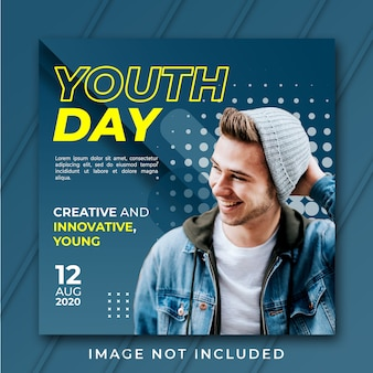 Square youth day banner template