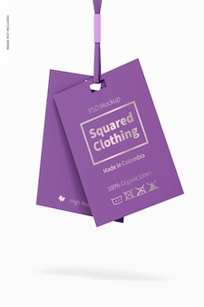 Squared clothing tags mockup, hängend
