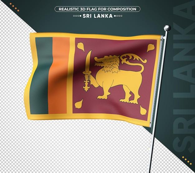 Sri lanka 3d flagge mit realistischer textur
