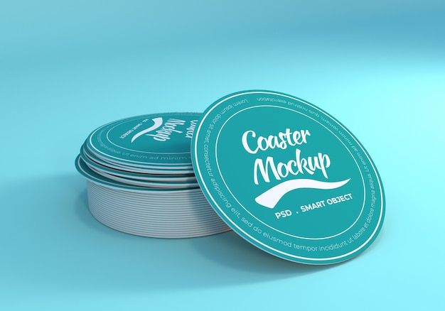 Stack table coaster mockup