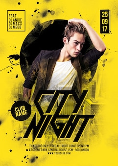 Stadt nacht party flyer