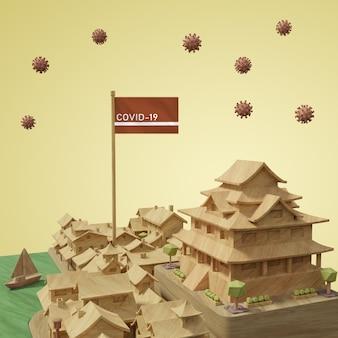 Stadtgebäude mit modell