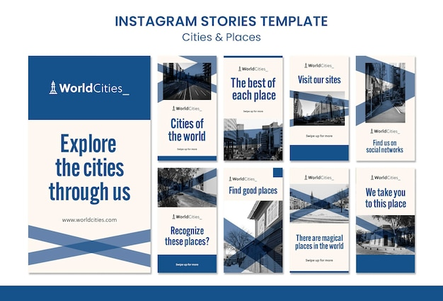 Städte und orte instagram geschichten vorlage