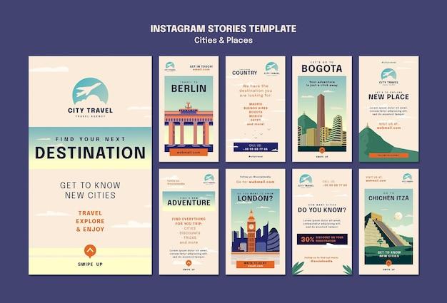 Städte und orte social-media-geschichten
