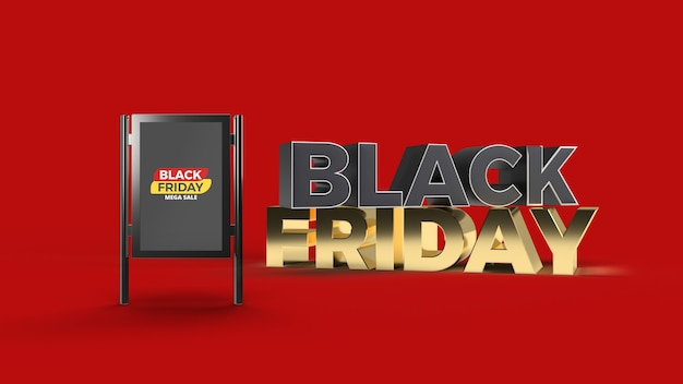 Stand sign mockup mit 3d gerendertem black friday text