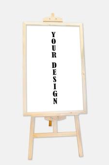 Standmodell-plakatanzeige des leeren hölzernen rahmens im freien auf grauem hintergrund