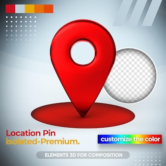 Standort-pin für karte in 3d-rendering