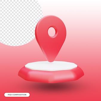 Standort-symbol isoliert in 3d-rendering