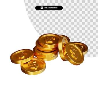 Stapel der goldenen münzen dollar in 3d-rendering isoliert