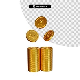 Stapel der goldenen münzen in der 3d-darstellung isoliert