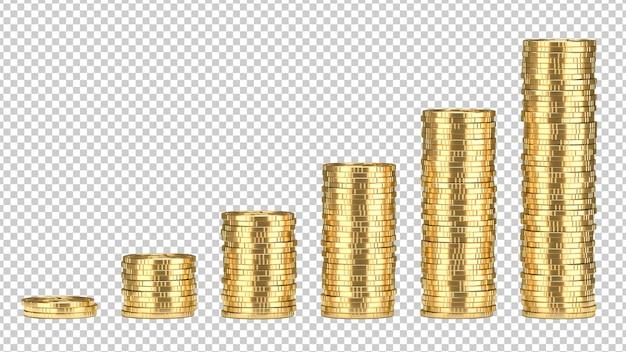 Stapel goldener münzen