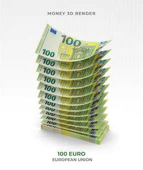Stapel von 100 euro banknoten geld 3d rendern