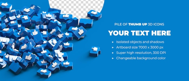 Stapel von verstreuten daumen hoch logo icons 3d rendern social media banner