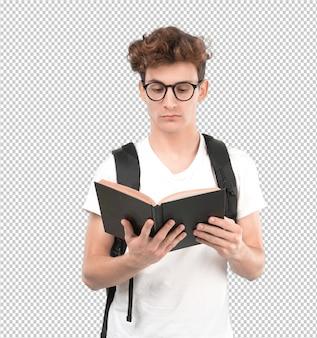 Starker junger student, der ein buch liest