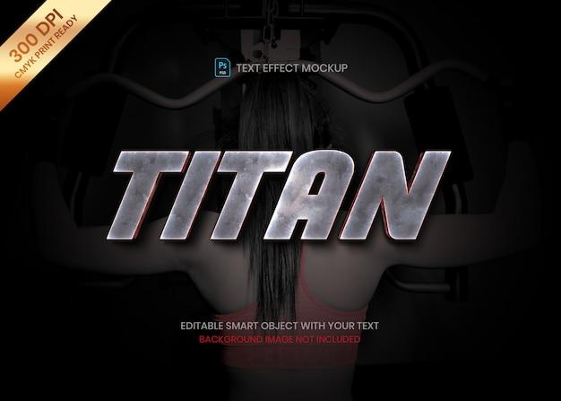 Starkes metalltitanstahl realistische text-effektschablone des logos 3d