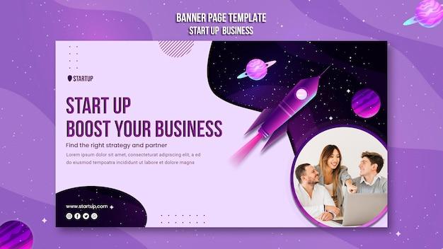 Starten sie die business-konzept-banner-vorlage
