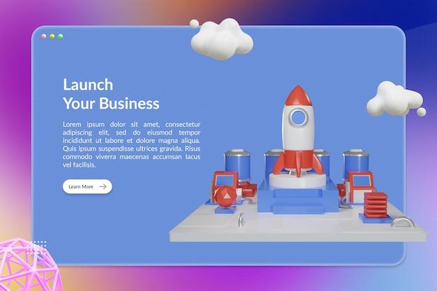 Starten sie ihre business landing page mit 3d rocket station illustration