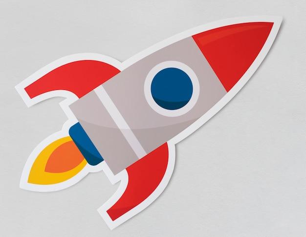 Startendes symbol des rocket-schiffs