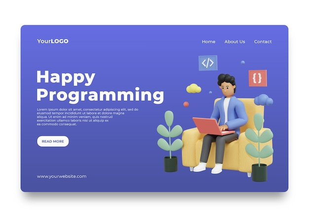 Startseite des landing page programmer day uiux premium psd