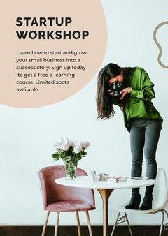 Startup-workshop-vorlage psd mit fotografengeschäft