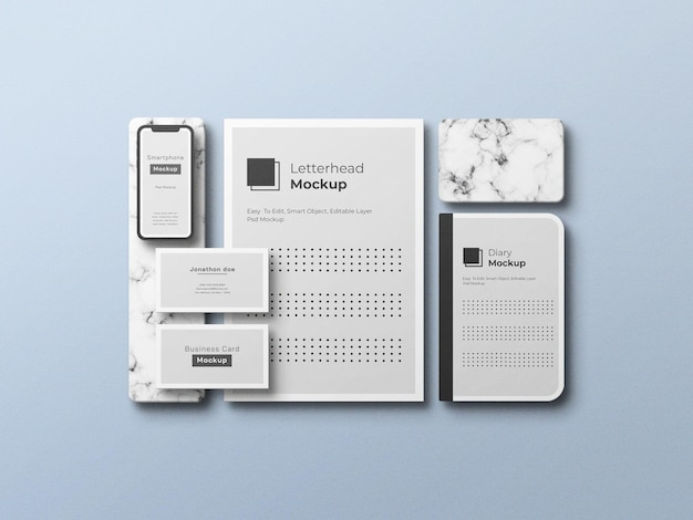 Stationäres mockup-design in draufsicht