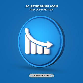 Statistik dwon graph icon beim 3d-rendering