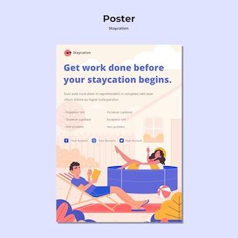 Staycation konzept poster stil