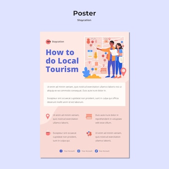 Staycation konzept poster vorlage