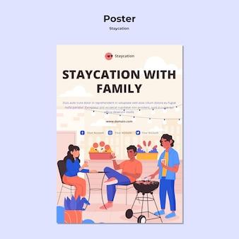 Staycation mit familienplakatdesign