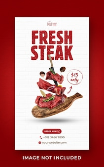 Steak food menü förderung social media instagram geschichte banner vorlage