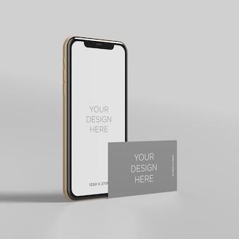 Stehen sie smartphonemodell mit visitenkarteperspektivenansicht