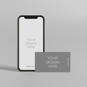 Stehen sie smartphonemodell mit vorderansicht der visitenkarte