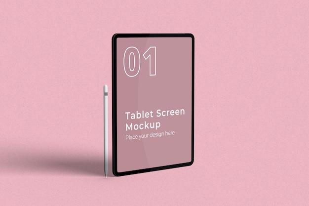 Stehendes tablet-bildschirmmodell mit bleistift-linksansicht