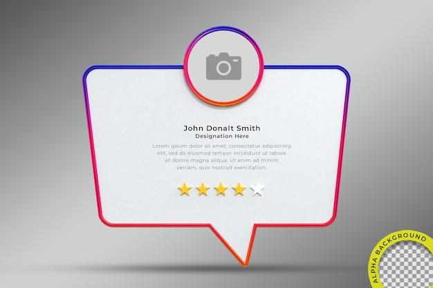 Stellen sie mir eine frage interface frame 3d-rendering auf instagram social media