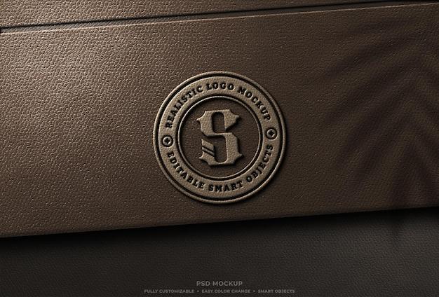 Stempel braunes leder logo mockup