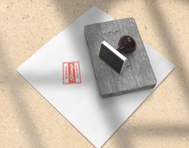 Stempel- oder stempelkissen-briefpapier-logo-mockup-design