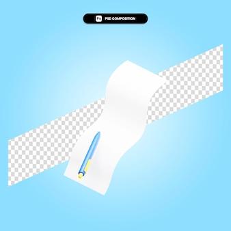 Stift und notiz 3d-render-illustration isoliert