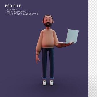 Stilvolle männliche figur, die ein laptop-3d-rendering hält