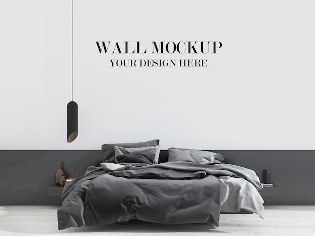 Stilvolle schwarz-weiße schlafzimmerwand