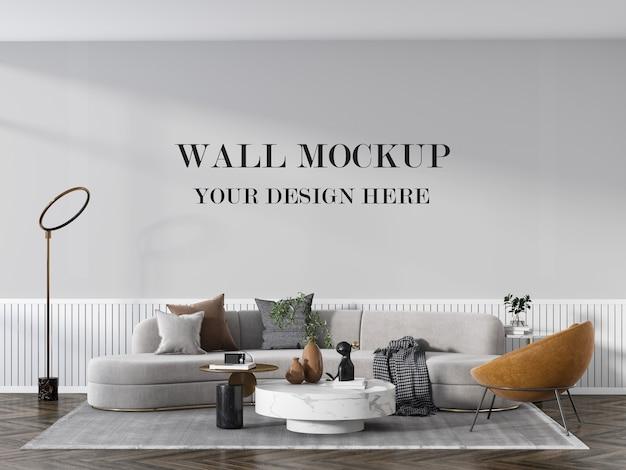 Stilvolles leeres wandmodell des wohnzimmers