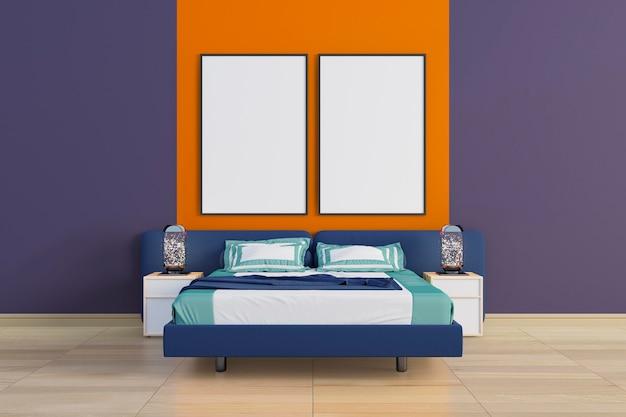 Stilvolles schlafzimmer mit leinwandrahmenmodell