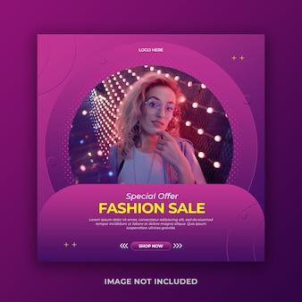 Stilvolles social-media-banner oder instagram-post-vorlage für den modeverkauf